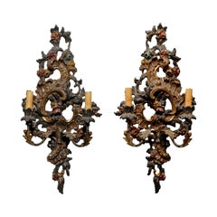 Pair of Italian Rococo Style Late 19th Century Carved and Painted Sconces