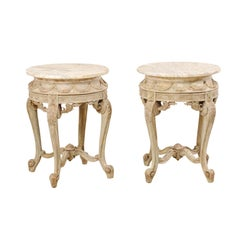 Pair of Italian Rococo Style Marble-Top Side Tables
