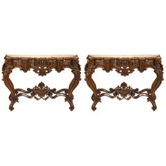 Pair of Italian Rococo Style Rosewood Consoles