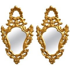 Pair of Italian Rococo Wall Mirrors, Giltwood Carved