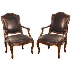 Pair of Italian Rococo Walnut Armchairs