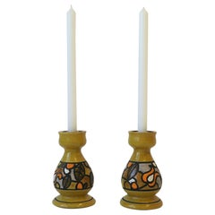 Pair of Italian Rosenthal Netter Yellow Pottery Candlestick Holders