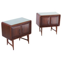 Pair of Italian Rosewood and Green Glass Bedside Tables, 1950s