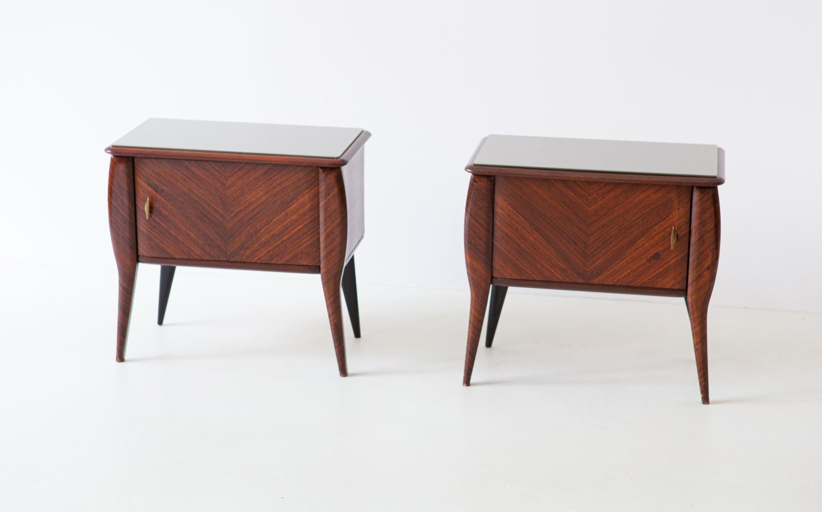 Pair Of Italian Rosewood Bedside Tables With Grey Glass Top 1950s
