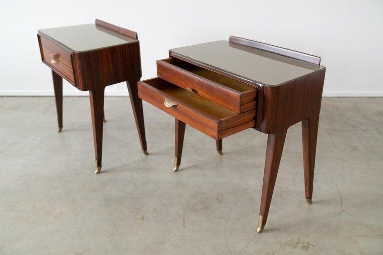 Pair of Italian Rosewood Nightstands For Sale 1