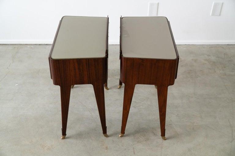 Pair of Italian Rosewood Nightstands For Sale 4