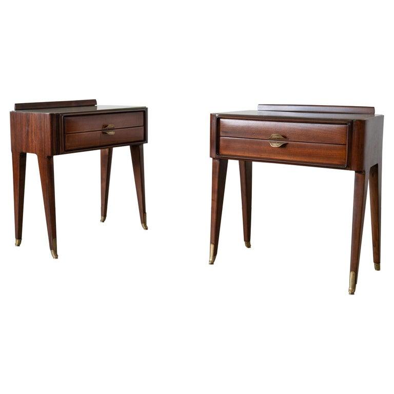 Pair of Italian Rosewood Nightstands For Sale