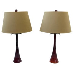Pair of Italian Ruby Red Murano Glass and Brass Table Lamps by Donghia