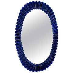 Pair of Italian Sapphire Blue Glass and Brass Mirrors