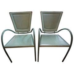 Pair of Italian Sawaya and Moroni Iron and Leather Chairs