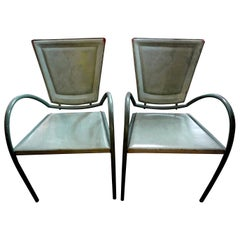 Pair of Italian Sawaya and Moroni Iron and Leather Chairs