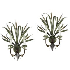 Pair of Italian Sconces by Banci Firenze circa 1980 Green Leaf Bunch with Spikes
