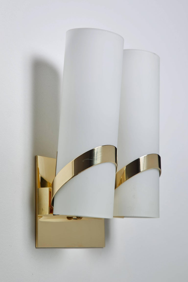 Brass Pair of Italian Sconces For Sale