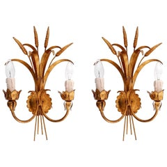 Pair of Italian Sconces, Gold Bronze, 1970