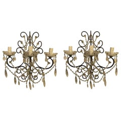 Pair of Italian Sconces Scrolling Iron Structure with Crystal Mid 20th-Century