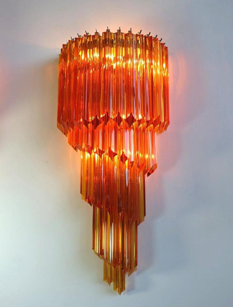 Metal Pair of Italian Sconces Venini Style 41 Amber Color Quadriedri, Murano, 1980s For Sale