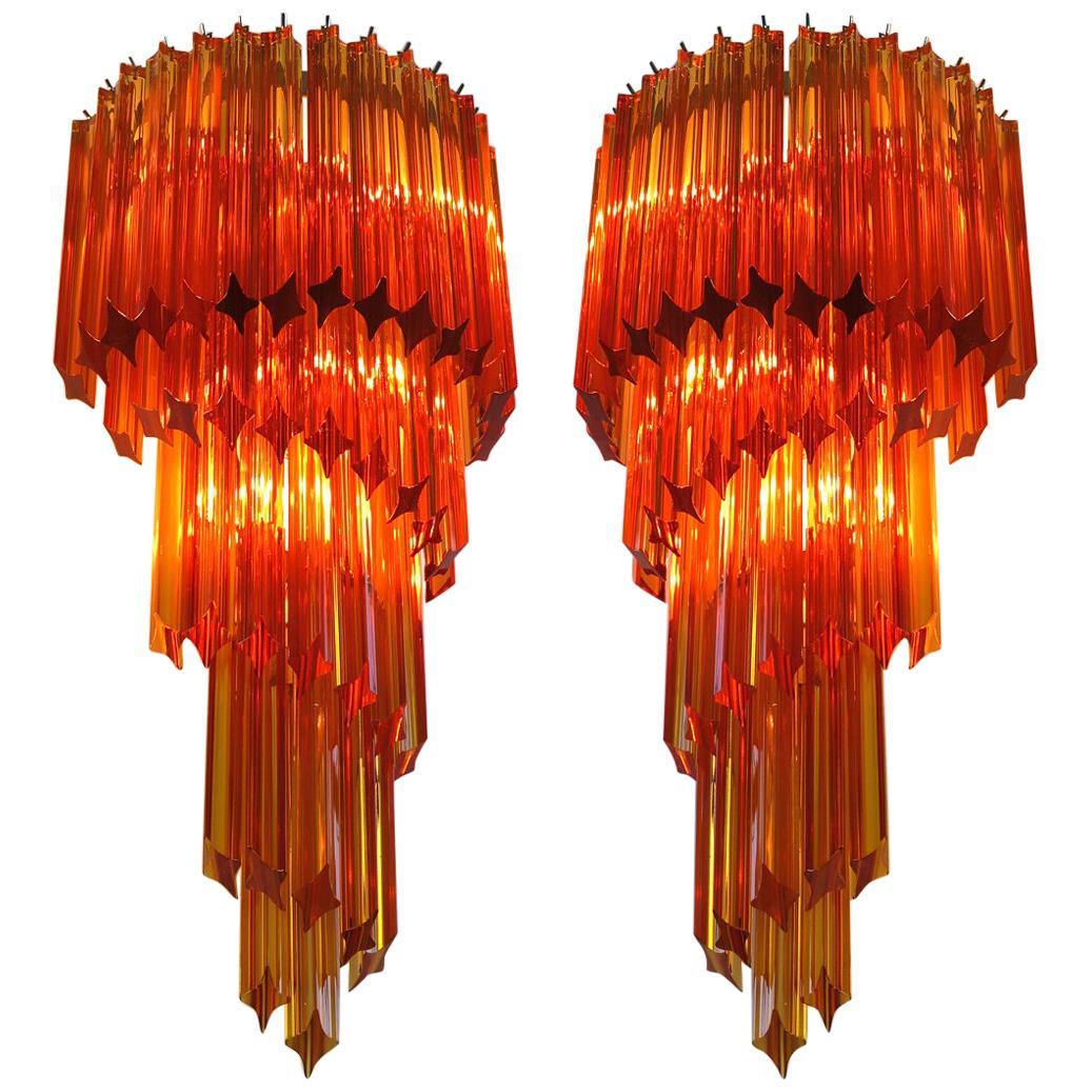 Pair of Italian Sconces Venini Style 41 Amber Color Quadriedri, Murano, 1980s