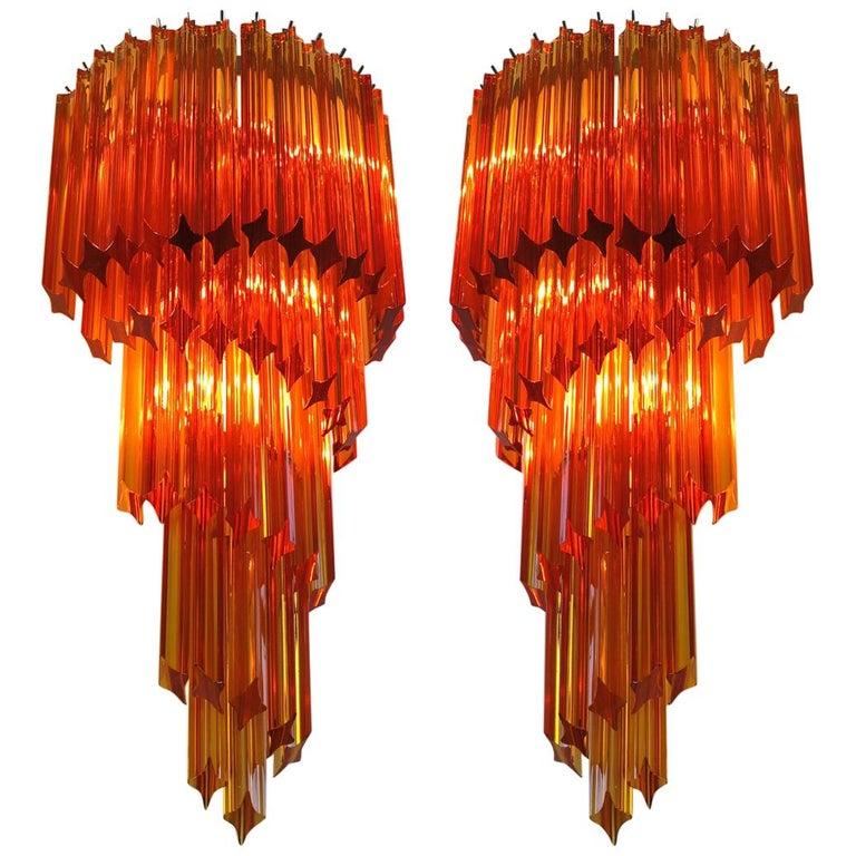 Pair of Italian Sconces Venini Style 41 Amber Color Quadriedri, Murano, 1980s For Sale