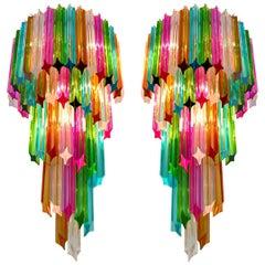 Pair of Italian Sconces Venini Style 41 Multi-Color Quadriedri, Murano, 1980s