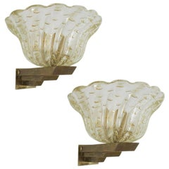 Pair of Italian Sconces w/ Murano Glass Designed by Barovier e Toso, 1930s