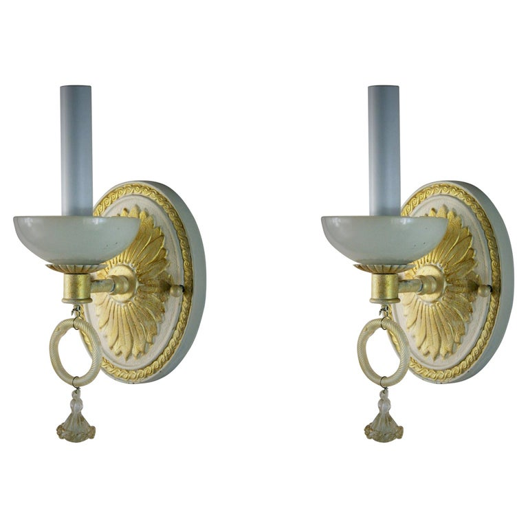 Pair of Italian Mid Century Sconces with Murano Glass, circa 1960s For Sale