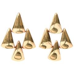 Pair of Italian Sculptural 14 Karat Gold Pierced Lever Back Dangle Earrings