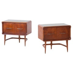 Pair of Italian Sculptural Mahogany Bedside Tables, 1950s