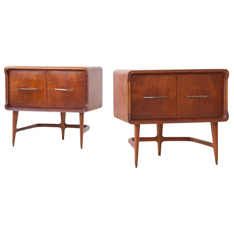 Pair of Italian Sculptural Mahogany Bedside Tables, 1950s For Sale
