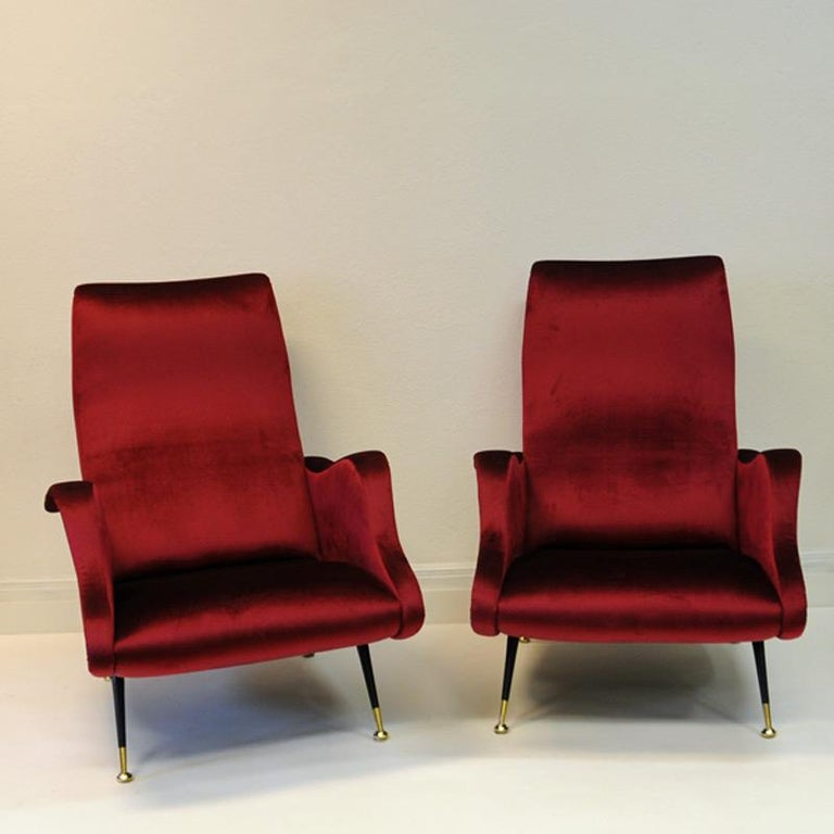 Fabric Pair of Italian Sculptural Red Velvet Chairs, 1960s For Sale