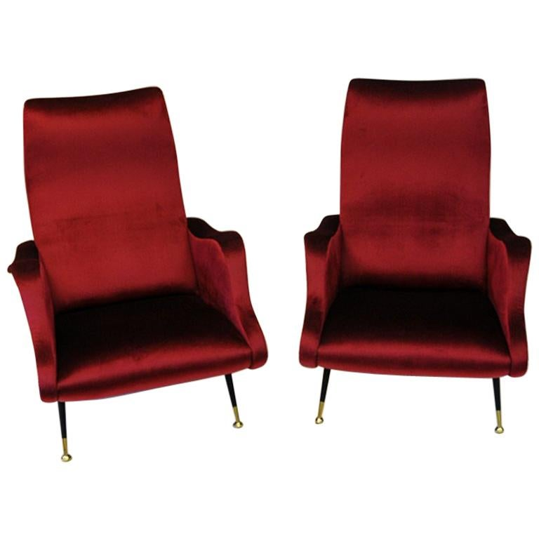 Pair of Italian Sculptural Red Velvet Chairs, 1960s For Sale