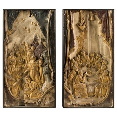 Pair of Italian Sculptures, Italy, 17th Century, Carved Gilded Wood, Baroque