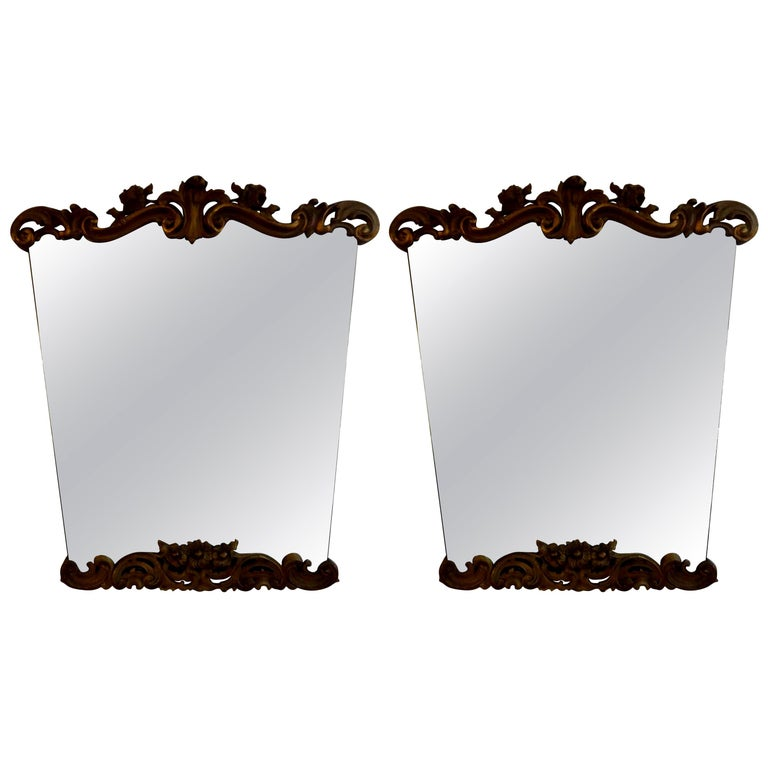 Pair of Italian Serge Roche Inspired Painted and Giltwood Mirrors For Sale