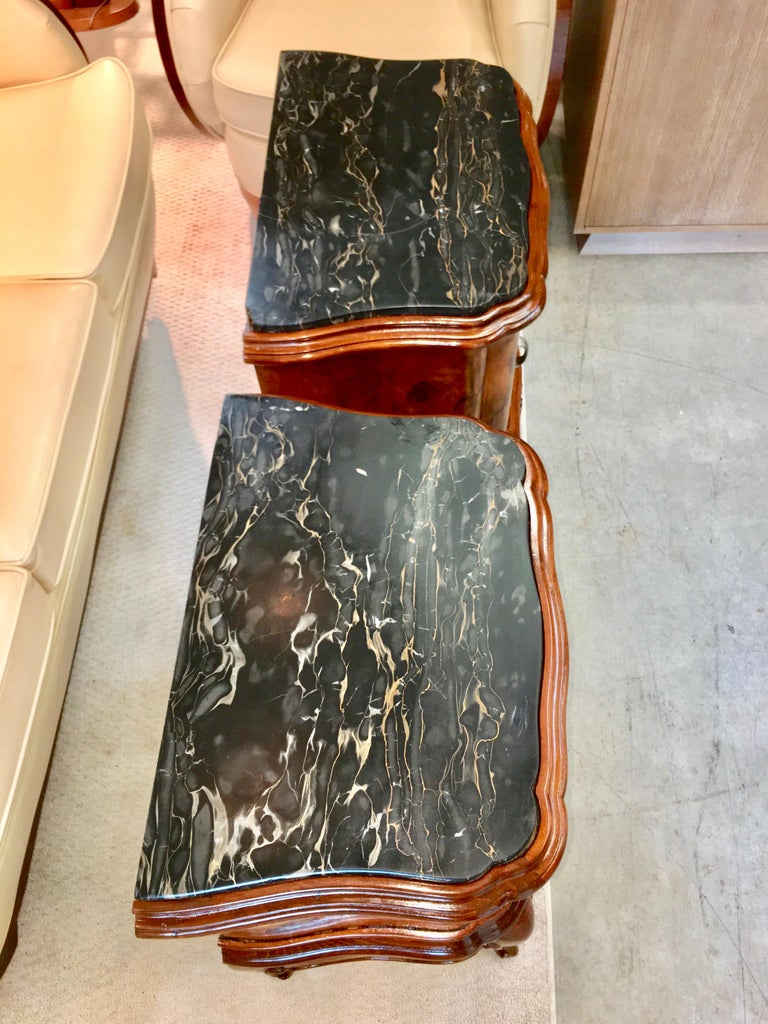 Pair of Italian Serpentine Nightstands with Marble Tops For Sale 11