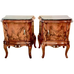 Pair of Italian Serpentine Nightstands with Marble Tops
