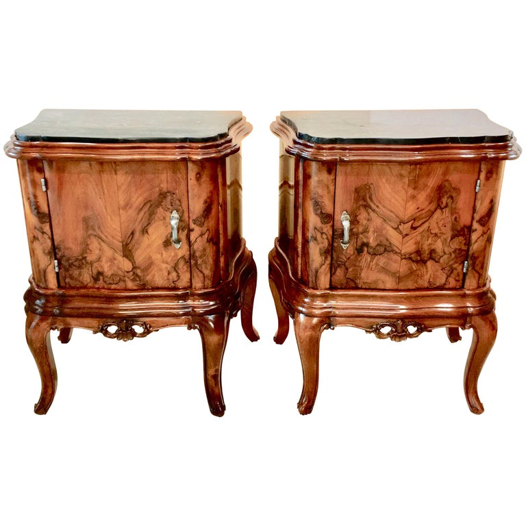 Pair of Italian Serpentine Nightstands with Marble Tops For Sale