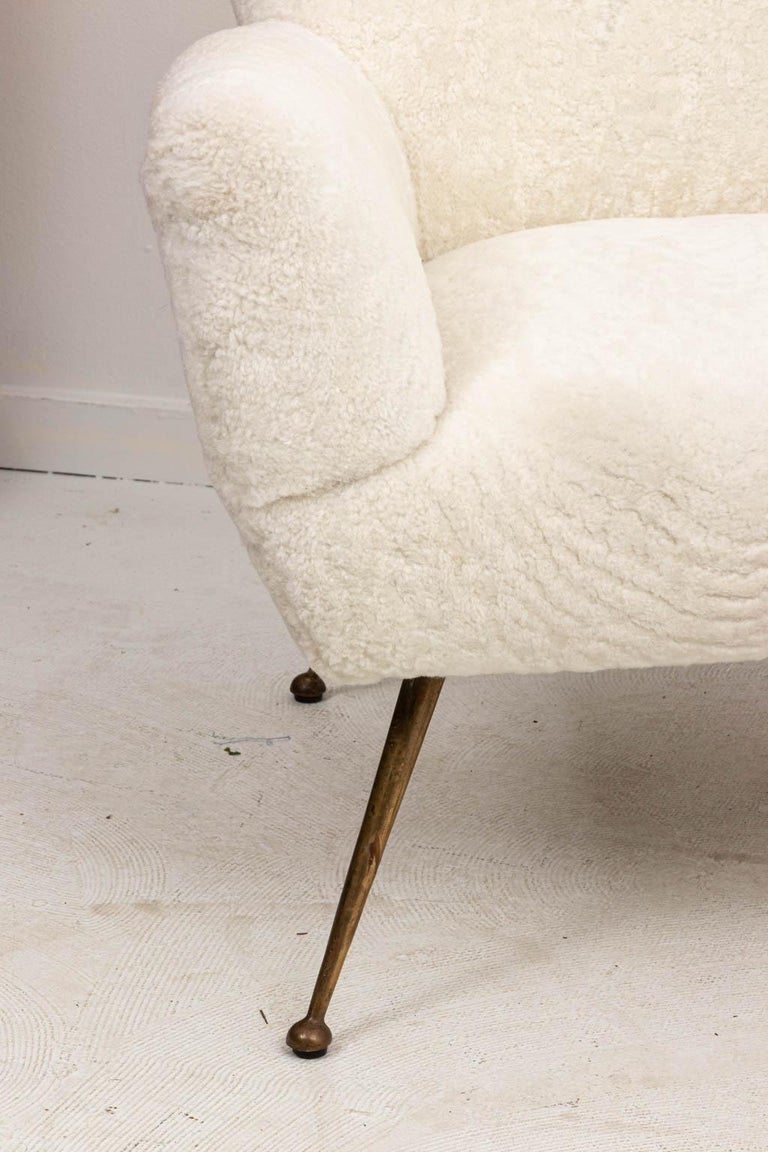 Mid-Century Modern Pair of Italian Shearling Chairs For Sale