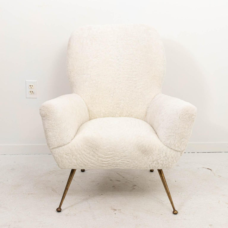 Pair of Italian Shearling Chairs In Good Condition For Sale In Stamford, CT