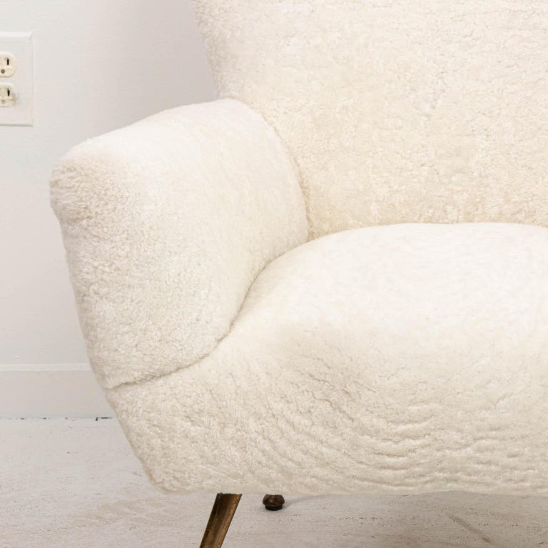 Mid-20th Century Pair of Italian Shearling Chairs For Sale