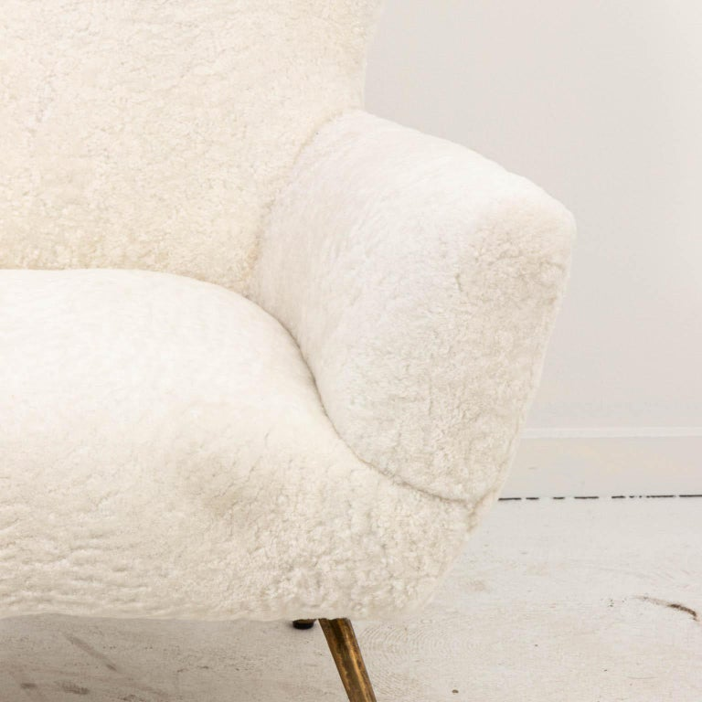 Brass Pair of Italian Shearling Chairs For Sale