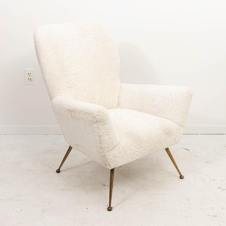 Pair of Italian Shearling Chairs For Sale 2