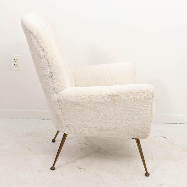 Pair of Italian Shearling Chairs For Sale 3