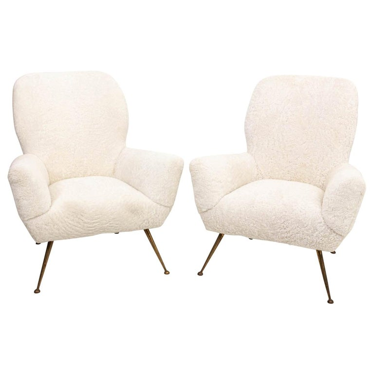Pair of Italian Shearling Chairs For Sale