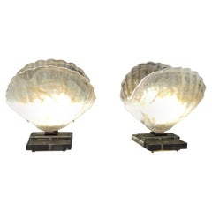 Pair of Italian Shell Table Lamps in Murano Glass Style of Barovier & Toso, 1970