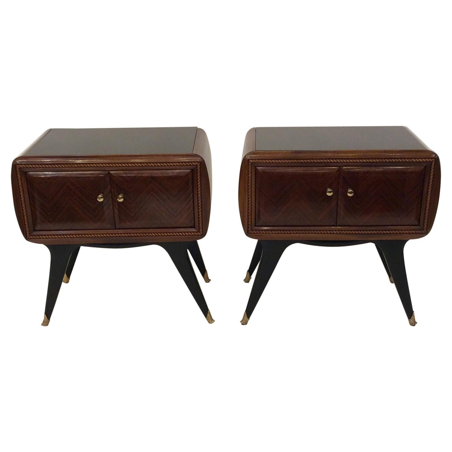Pair of Italian Side Chest Nightstands Attributed Gio Ponti, circa 1950