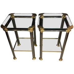 Pair of Italian Side Tables with Anthracite Metal and Brass Structure, 1970s