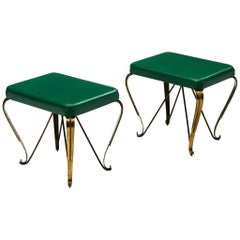 Pair of Italian Side Tables with Brass