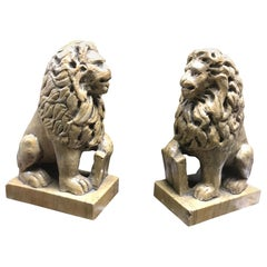 Pair of Italian Sienna Marble Lions, 19th Century