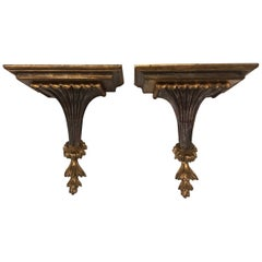 Pair of Italian Silver and Gold Giltwood Shelves