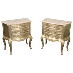 Pair of Italian Silver Leaf Gilded Louis XV, Marble Top Nightstands, circa 1950