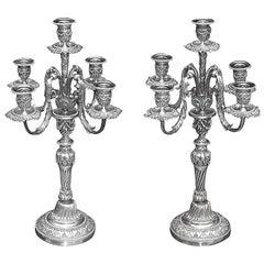 Pair of Italian Silver Over Brass Floral Beaded Candelabras . Circa 1830